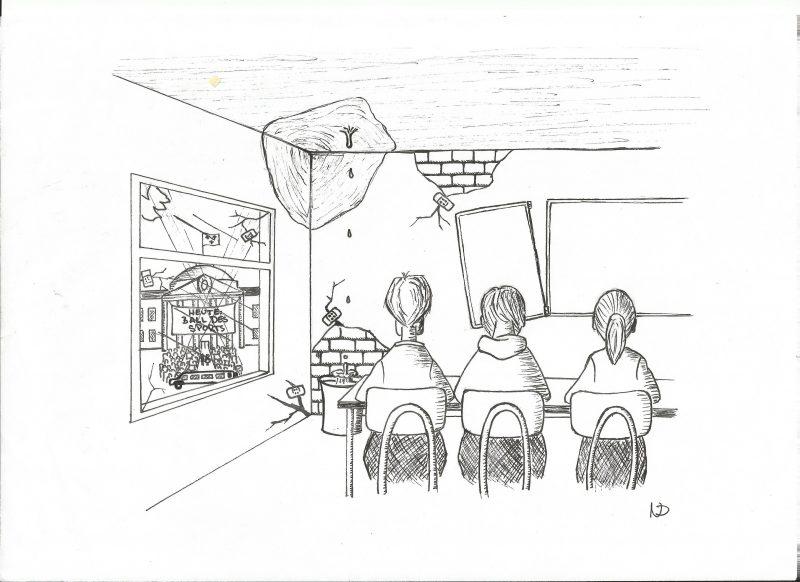Karikatur Sanierungsstau Nico Dadam, StadtschülerInnenrat Wiesbaden