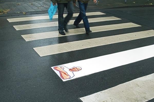 Beispiel für eine Guerilla Marketing Aktion (Zebrastreifen)